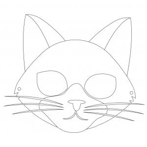 Coloriage d'un masque de chat à imprimer , à découper . Un masque de chat de la couleur que vous voulez