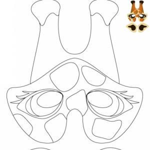 Imprimer le modèle du masque de girafe pour le déguisement des enfants , masque à colorier, à découper et &agrav...
