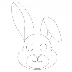 Imprimer le modèle du masque de lapin pour le déguisement des enfants , masque à colorier et à découper