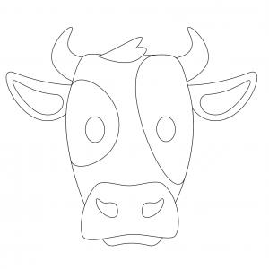 Imprimer le modèle du masque de vache pour le déguisement des enfants , masque à découper et à colorier avec un modèle