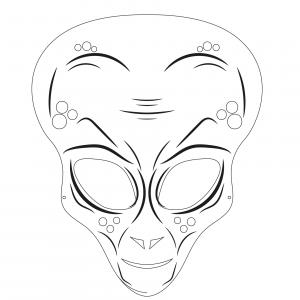 Imprimer le modèle du masque d'extraterrestre pour le déguisement des enfants , masque à colorier et à découper