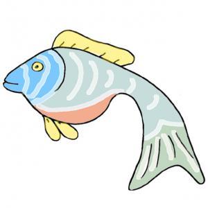 Un poisson à imprimer et à découper pour les blagues du premier avril. Une image de poisson pour les farces du 1 er avril.