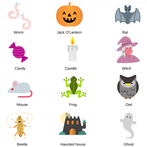 Imprimer les motifs à découper 2 pour le loto halloween anglais que vous pouvez aussi faire en français