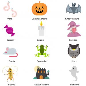 Imprimer les motifs à découper pour le loto halloween en français que vous pouvez aussi faire en anglais