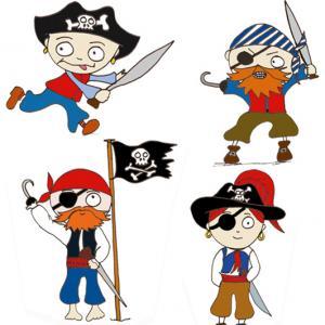 Imprimer les pirates pour la décoration du gâteau pirate. Décorez avec des pirates