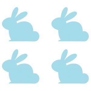 Images de lapins de Pâques bleus à imprimer pour les bricolages et les collages de Pâques