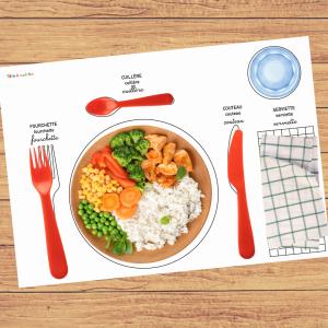 Set de table Montessori à imprimer gratuitement pour aider les enfants à mettre la table comme des grands.