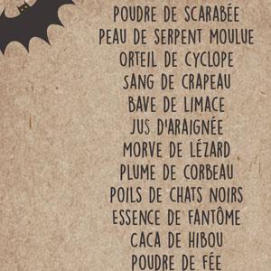 Liste d'ingrédients pour potions magiques à imprimer