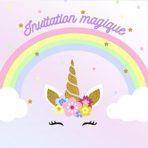 Imprimez votre invitation pour pouvoir inviter tout le monde au meilleur anniversaire de Licorne du monde avec des fleurs et un arc-en-ciel. Il suffira de l'imprimer sur une feuille A4 et de la monter afin de pouvoir y glisser l'invitation