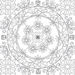 Mandala jardin complexe 3 : un mandala complexe et chargé organisé autour du thème du jardin et des fleurs. Un mandala dont le coloriage demandera dextérité et précision du geste.
