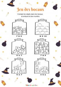 Ces bocaux contiennent des bonbons, des araignées, des citrouilles, des sorcières et des chats. C'est à votre enfant de les compter et d'entourer le chiffre qui correspond sous chaque bocal.