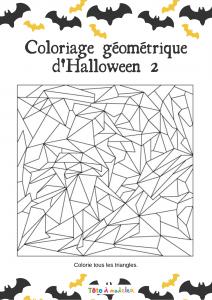 Un jeu de coloriage géométrique : le dessin est composé de formes géométriques délimitées par des traits. Seuls les triangles doivent être coloriés pour révéler  l'image . Jeu à imprimer gratuit.