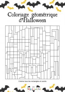 Un jeu de coloriage avec une consigne bien précise : il faut colorier tous les rectangles et tous les carrés. Ce jeu de coloriage dissimule une image sur le thème d'Halloweenqui apparait lorsque toutes les formes rectangulaires et carrées sont colorie