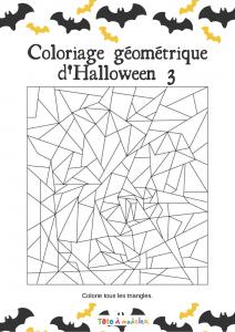 Ce jeu de coloriage géométrique demande la connaissance de notions géométriques : savoir identifier les triangles. Le jeu consiste à colorier tous les triangles afin de voir apparaitre l'image dissimulée. Un jeu de coloriage Halloween , pour exercer
