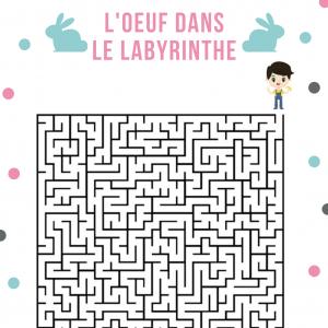 Un Jeu de labyrinthe de niveau difficile où il faut aider les enfants à retrouver leur oeufs en chocolat de Pâques