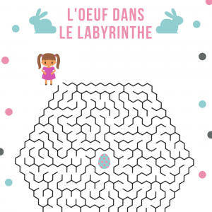 Un jeu de labyrinthe gratuit , à imprimer pour s'amuser tout en entrainant la dexterité, l'observation et la logique. Aide la petite fille à trouver lecentre de l'oeuf labyrinthe pour atteindre l'oeuf en chocolat