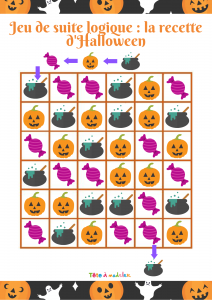 On cherche à faire une potion d'Halloween à base de citrouille et de bonbons !Les 3 images miniatures forment la suite logique , elles doivent se suivre toujours dans le même ordre . Pour jouer au jeu de suite logique il faut traverser la grille de jeu e