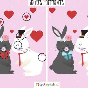 La réponse au jeu de Saint Valentin très drôle à faire durant la Saint Valentin ! Il faudra trouver les 7 différences entre l'image de droite et l'image de gauche. Imprimez la feuille et proposer à votre enfant de résoudre ces énigmes.