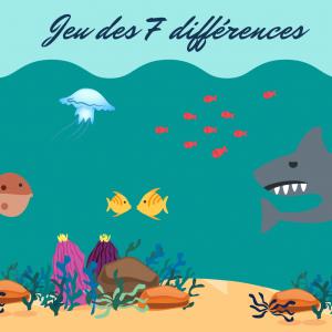 Il suffit d'ouvrir l'oeil et de trouver les 7 erreurs qui se sont introduites dans la seconde image du mobile de poissons en papier - Jeu ludique et éducatif gratuit à imprimer