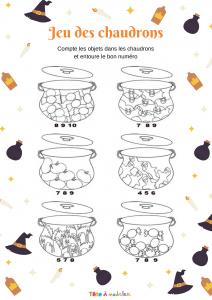 Six chadrons de sorcières contiennent chacun un certain nombre d'objets qu'il faut compter avant d'entourer le chiffre qui correspond. Une activité à imprimer pour apprendre à compter de 1 à 10.