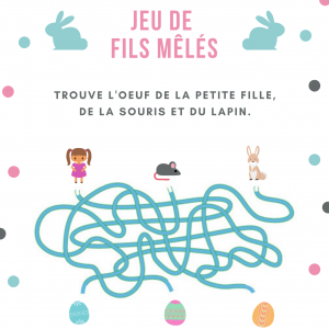 Jeu de fils mà™lés à imprimer Un méli-mélo de fils , 3 personnages : une fillette, une souris et un lapin et 3 beaux oeufs. Un jeu de fils mà™lés sur le th&am