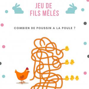 Jeu de fils mà™lés à imprimer , une fillette, une souris et un lapin à la recherche de l'oeuf en chocolat . Un jeu sur le thème de Pà¢ques.