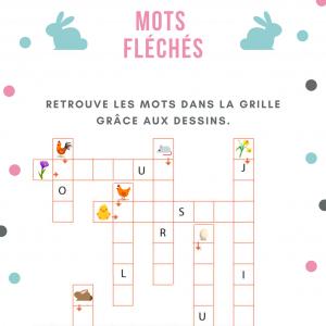 grille de jeu de mots fléchés sur le thème de Pà¢ques et trouver les mots correspondants aux petites images qui illustrent le printemps et Pà¢ques. Jeu gratuit à imprimer