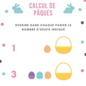Jeu de calcul sur les oeufs de Pâques dessine le bon nombre d'oeufs sur les ardoises