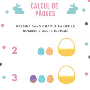 Un jeu pour associer quantité et chiffre : A votre enfant de dessiner dans chaque panier les quantités d'oeufs indiquées et colorie les petits oeufs