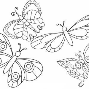 Vol de quatre papillons de taille, de forme et aux motifs différents à colorier. Ces quatre papillons s'envolent vers le ciel ...  ou pas
