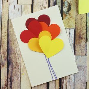 Tuto pour réaliser une carte ballon de coeurs pour la saint valentin