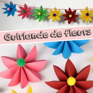 activité de bricolage enfants pour réaliser une guirlande de fleurs en papier