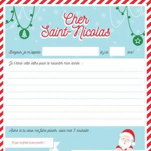 Une jolie lettre à télécharger et à imprimer pour l'envoyer à Saint Nicolas