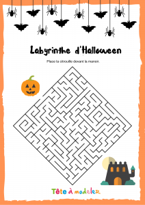 Sur ce labyrinthe, place la citrouille devant de le manoir hantéd'Halloween ! Un jeu de labyrinthe à imprimer pour jouer avec les symboles d'Halloween.