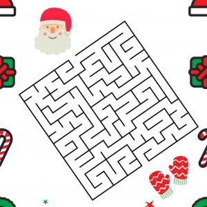 Une activité de Noël autour du labyrinthe, il faut observer, essayer pour trouver le chemin qui permettra au Père Noêl de retrouver ses gants