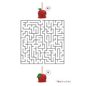 La réponse au labyrinthe de Saint Valentin très drôle à faire durant la Saint Valentin ! Aider la pomme d'amour à trouver son amoureux afin qu'ils soient rassemblés pour toujours. Imprimez la feuille et proposer à votre enfant de résoudre ces énigmes. cop