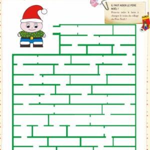 Jeu de labyrinthe à imprimer pour Noël. Il faut venir en aide au Père Noël ! Votre enfant peut-il aider les lutins à remplir le petit train du village de Noël avec les nouveaux jouets ?