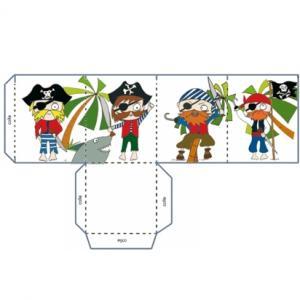 Un lampion de pirate à imprimer pour les enfants. Ce lampion est décoré de 4 pirates.