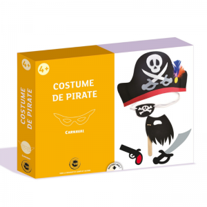 Ce déguisement de pirate est livré dans un très beau coffret qui comprend tout ce qu'il faut pour assembler et fabriquer facilement son propre costume de pirate.