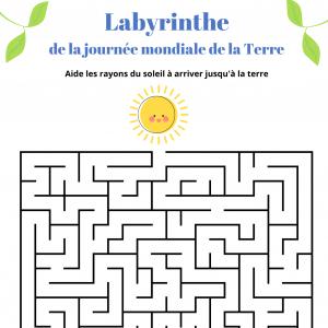 Un jeu de labyrinthe à imprimer pour la journée mondiale de la Terre le 22 avril. Aidez les rayons du soleil à atteindre la terre.