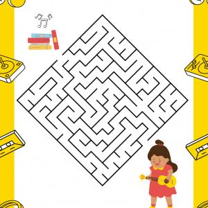 Imprimez gratuitement ce jeu de labyrinthe pour la Fête de la musique ou pour une semaine sur le thème de la musique. Trouve ton chemin à travers le labyrinthe pour aider la petite fille à trouver ses partitions.