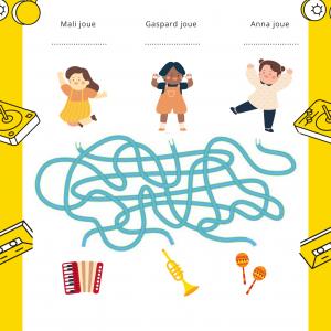 Imprimez gratuitement ce jeu pour la Fête de la musique ou pour une semaine sur le thème de la musique. Grâce aux indications, trouve de quel instrument joue le petit garçon.
