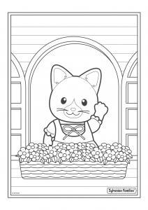 Un dessin à imprimer de maman chat qui salue ses voisins en s'occupant de ses fleurs