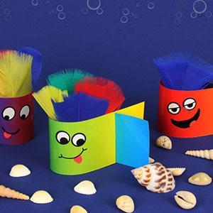 Atelier de bricolage enfants pour réaliser des poissons pleins de couleurs