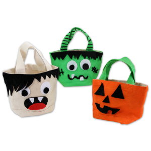 tuto pour bricoler avec les enfants des sacs en coton d'Halloween