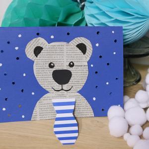 Tuto pour réaliser un ourson polaire avec de la neige qui tombe