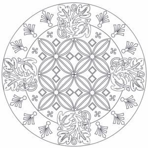 Mandala décoré d'arabesques à imprimer et à colorier. Un dessin de mandala pour les plus grands.