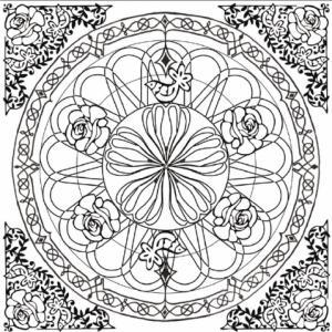 Dessin d'un mandala complexe tout en rosaces à imprimer pour le coloriage Thérapie des adultes. Les motifs en rosaces de ce mandala sont complétés par des motifs végétaux : roses et branchages entrelacés.