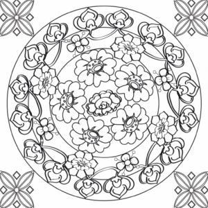 Dessin d'un mandala complexe à imprimer sur le thème des fleurs. les fleurs et les arabesques sont disposées en cercle avec des arabesques et des rosaces dans les coins.