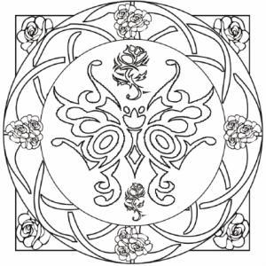 Coloriage d'un mandala complexe avec arabeques et un papillon rococo central. Un coloriage de détente pour les grands, les adultes et les parents ...